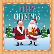 Santa and wife cartoon of Christmas season Stock Illustration