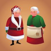 Santas wife cartoon of Christmas season Stock Illustration