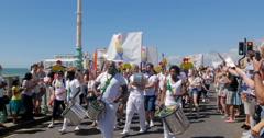 Brighton gay pride parade, community from Portugal Stock Footage