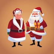 Santa and wife cartoon of Christmas season Stock Illustration