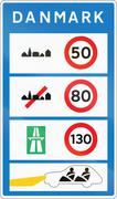 Overview of speed limits safety requirements in Denmark Stock Illustration