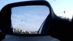 Broken rearview mirror Stock Footage
