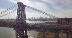 Tracking Left Aerial of New York City Rush Hour Traffic on Williamsburg Bridge Stock Footage
