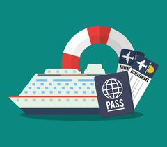 Cruise of travel and tourism concept Stock Illustration
