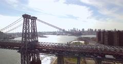 Tracking Right Aerial of New York City Rush Hour Traffic on Williamsburg Bridge Stock Footage