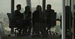 4K Business team having heated discussion boardroom meeting in city office Stock Footage