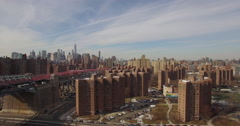 Aerial New York City Busy Traffic to Financial District and World Trade Center Stock Footage