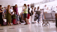 Passengers in the Control of a Gate in Istambul Gokcen Airport Stock Footage