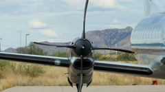 A turboProp airplane starting an engine Stock Footage