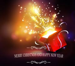 Christmas background with open red box Stock Illustration