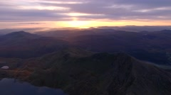 Aerial view of Snowdonia a sunrise. Stock Footage