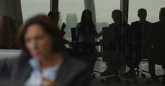 4K Emotional business team arguing in boardroom meeting in city office Stock Footage