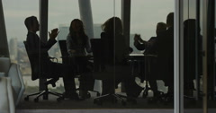 4K Excited business team clapping & giving high fives in boardroom meeting Stock Footage