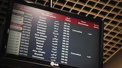 Flight Departures Board showing Arab Destinations Stock Footage