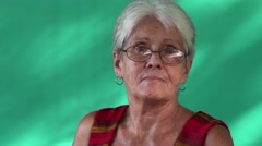 16 People Portrait Sad Elderly Hispanic Woman Old Cuban Lady Stock Footage