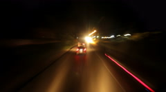 Driving on road at night, time lapse Stock Footage