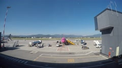 Bergamo Time lapse boarding operation at the city airport Stock Footage