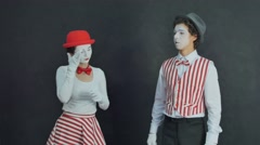 Young mimes photographed Stock Footage