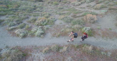 Aerial view of two Hikers Stock Footage