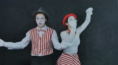 Mimes playing musical instruments Stock Footage
