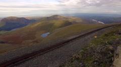 Panning shot of the Snowdonia mountain railway line. Stock Footage