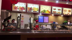One side of worker preparing noodle for cook at food court area Stock Footage