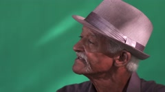 20 Senior People Portrait Old Black Man With Hat Mustache Stock Footage