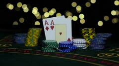 Combination of poker. Falling two king on a table. Close up. Slow motion Stock Footage