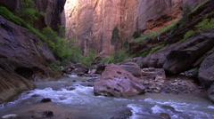View through the Zion Narrows in Utah Stock Footage