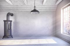 3d render - scandinavian empty room - chimney - winter Stock Illustration