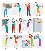 Set of Peoples on Electronics Store Sale Vector Stock Illustration