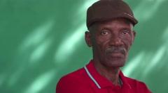 21 Seniors People Portrait Sad Old Black Man With Hat Stock Footage