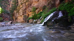 View of spring merging with river  Stock Footage