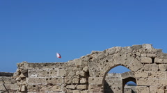 Flags of Turkey and Northern Cyprus are waving over Kyrenia Castle Stock Footage