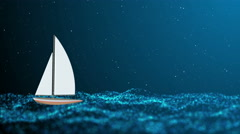 Night stormy sea and lonely small sailboat Stock Footage