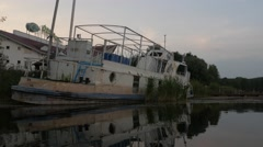 Abandoned ship. Drivyaty Lake, Belarus Stock Footage