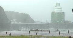 Tropical Storm Lashes Coast With Heavy Rain Stock Footage