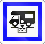 Road sign used in France - Caravan waste water disposal Stock Illustration
