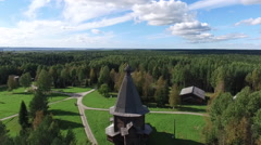 Drone view of wooden architecture of the Arkhangelsk Stock Footage