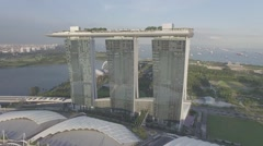 Marina Bay Sands Drone Aerial Shot Stock Footage