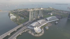 Marina Bay Sands HD Drone Aerial Shot MBS Stock Footage