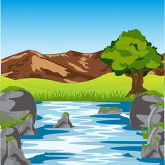 Clean river year daytime Stock Illustration