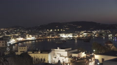Night time view of chora on mykonos, greece Stock Footage
