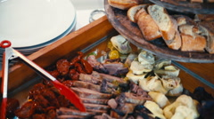 The buffet is nice meat and vegetables Stock Footage