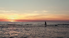 Sportsman silhouette running at sunset Stock Footage
