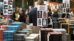 Many lovers of reading, buyers, publishers and books at the big book fair. Stock Footage
