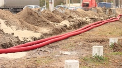 ٍStretched cable in the roadwork zone Stock Footage
