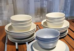 White and Blue Porcelain Dishes, Bowls and Plate Stock Photos