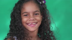 25 Pretty Young Latina Girl Cute Hispanic Female Child Smiling Stock Footage