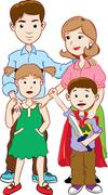Happy family with two children, cartoon vector Stock Illustration